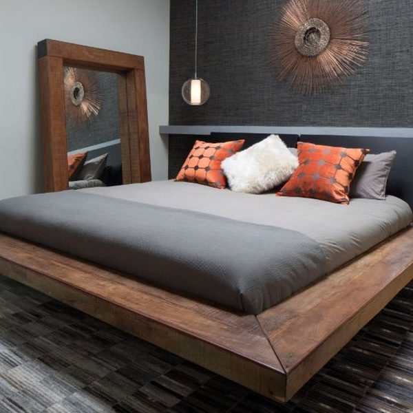 thiết kế nội thất phòng ngủ phong cách đương đại chất liệu gỗ