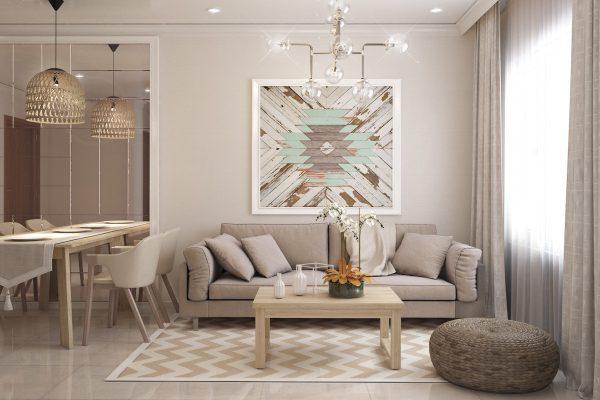 thiết kế nội thất phòng khách và bếp cùng tông