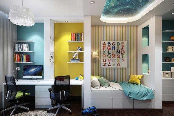 Nội thất phòng ngủ cho trẻ phong cách thiên hà