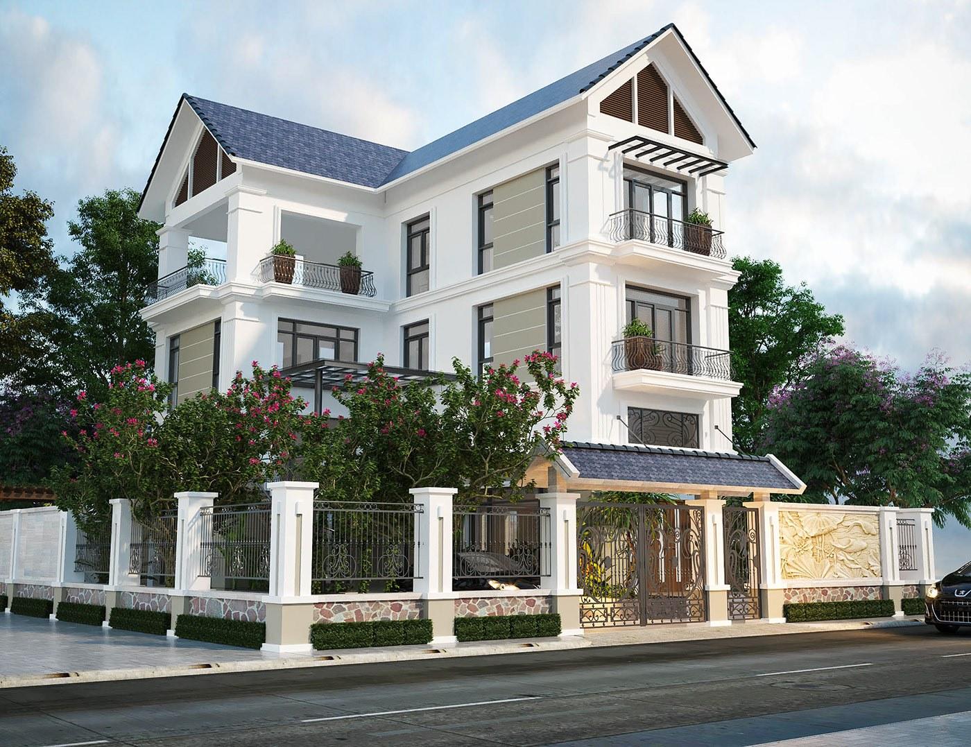 Mẫu thiết kế nhà 3 tầng mái thái sân vườn