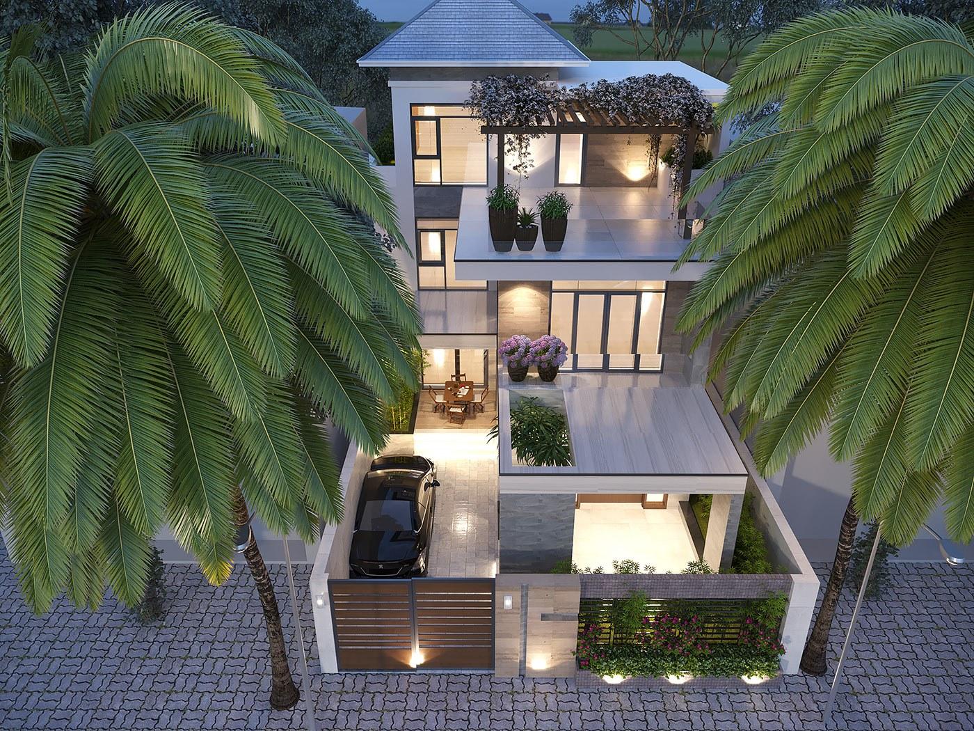 Mẫu thiết kế nhà 3 tầng chữ L hiện đại