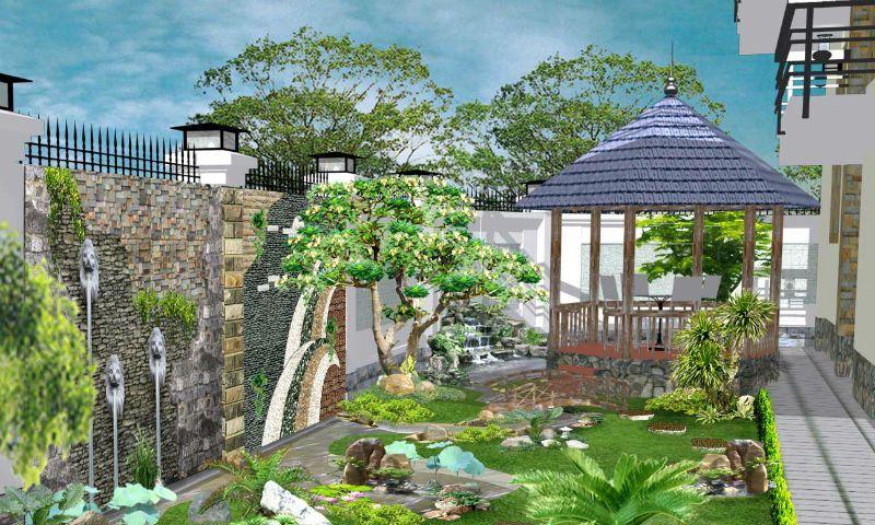 Các đường cong mềm mại trong thiết kế cảnh quan sân vườn
