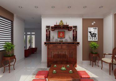 bố trí bàn thờ trong phòng khách