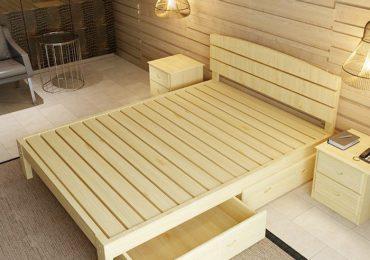 Giường gỗ thông đẹp