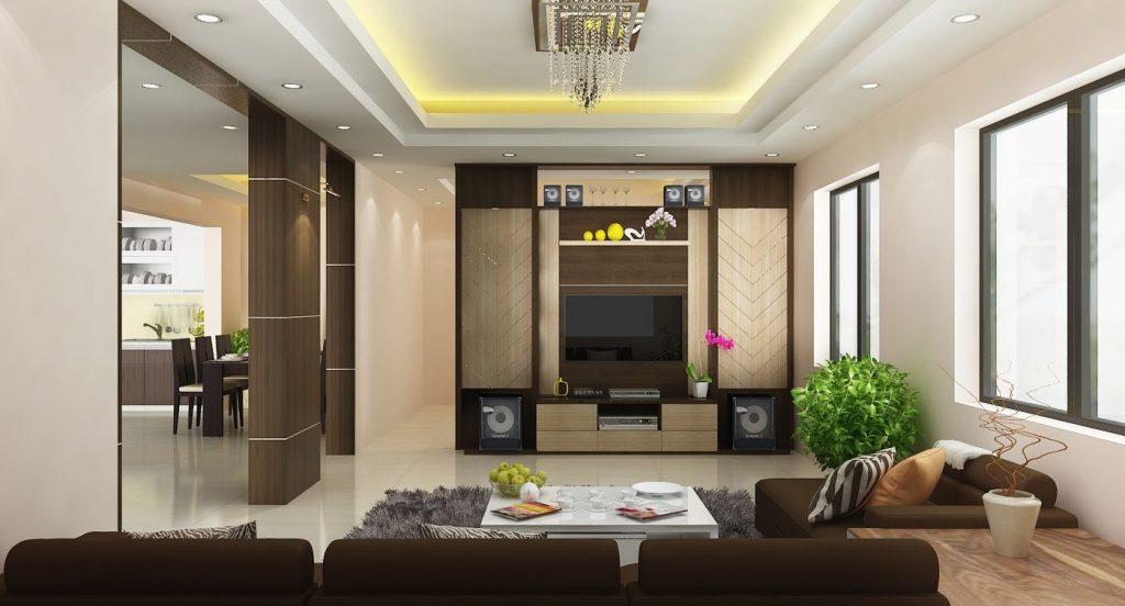 Mẫu trần thạc cao phòng khách hiện đại