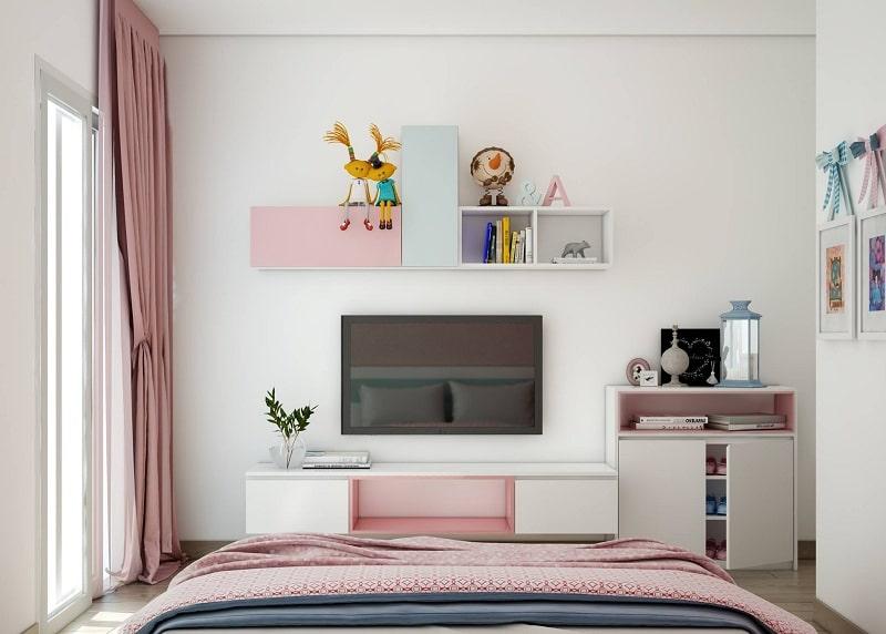 Decor phòng ngủ bằng kệ gỗ