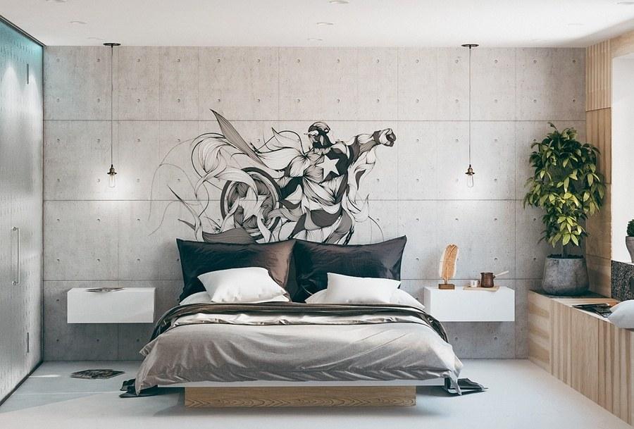 Decor phòng ngủ bằng tranh vẽ tường