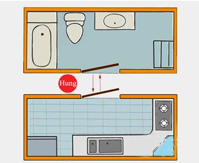 Bếp không được đối diện với cửa nhà vệ sinh