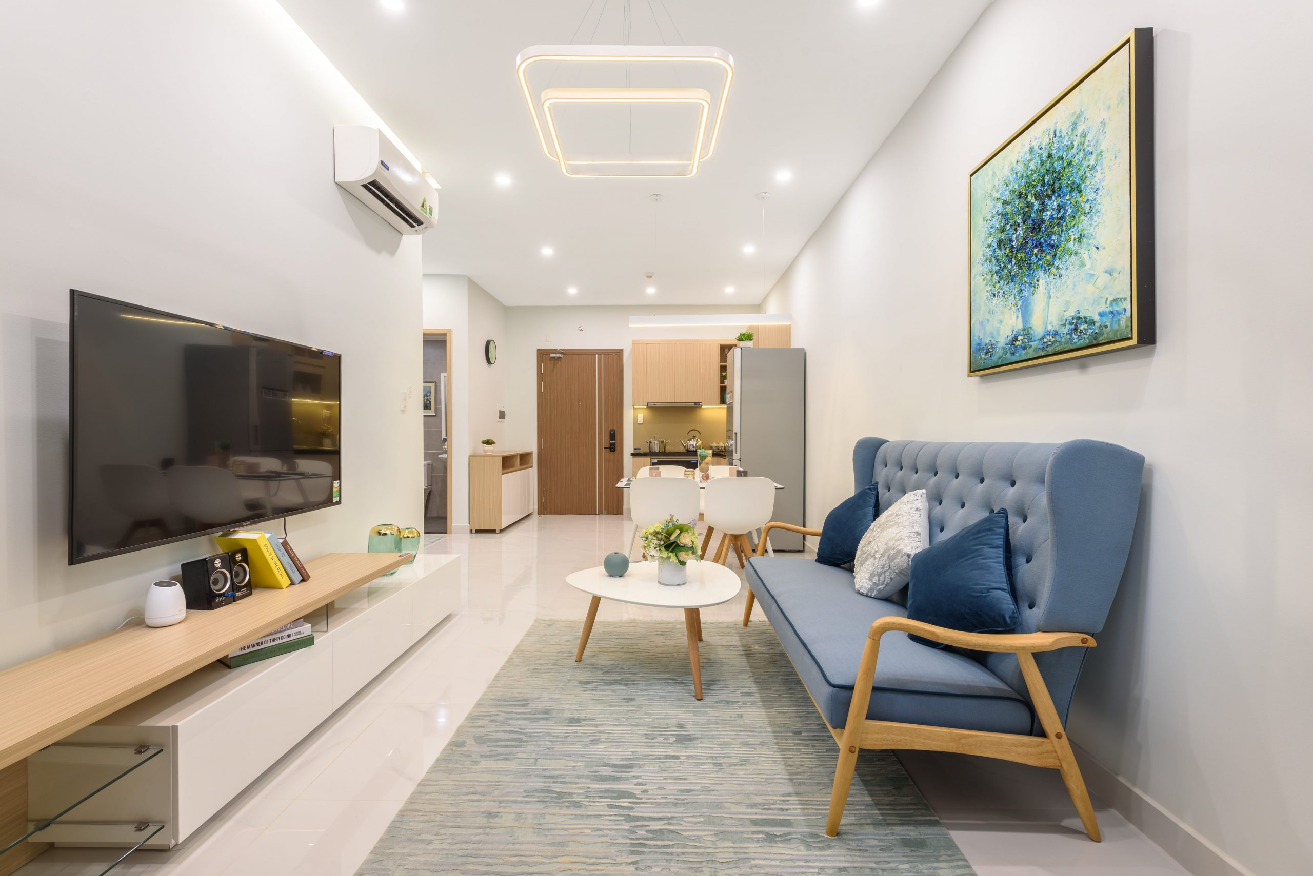 Thiết kế căn hộ chung cư 45m2 2 phòng ngủ theo không gian mở