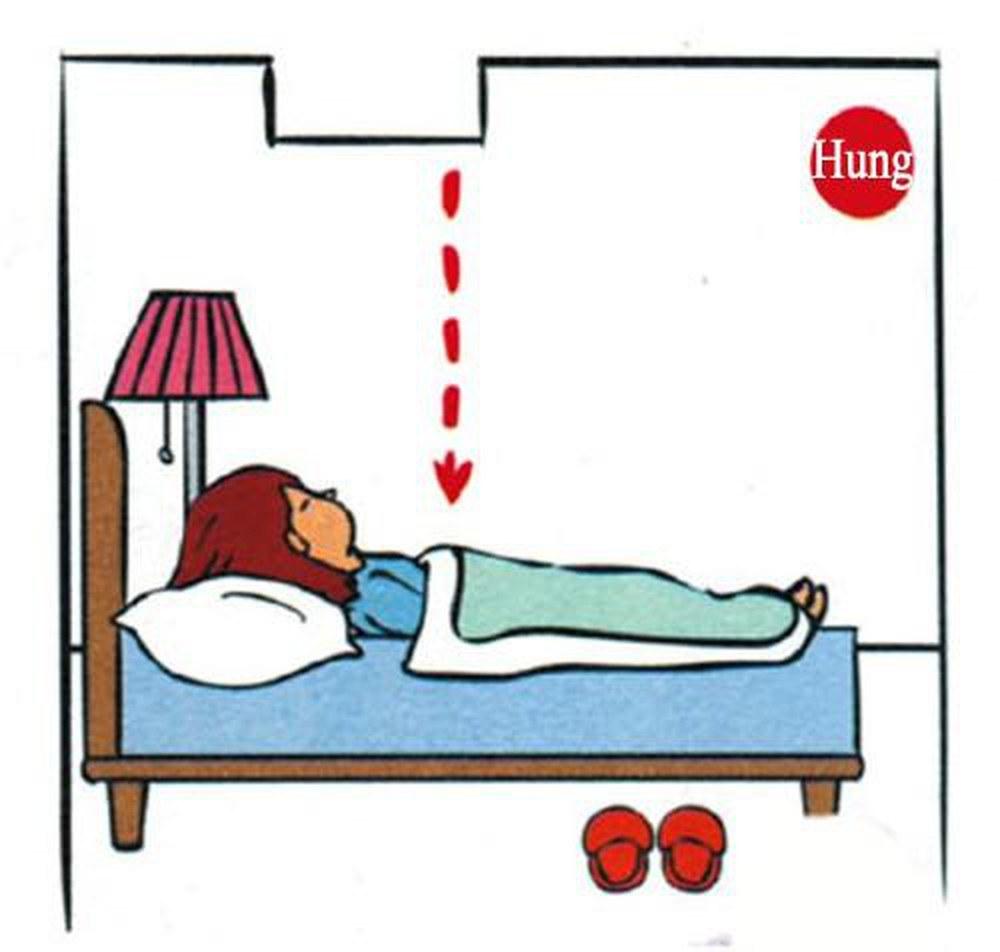 Không đặt giường ngủ phía dưới xà ngang