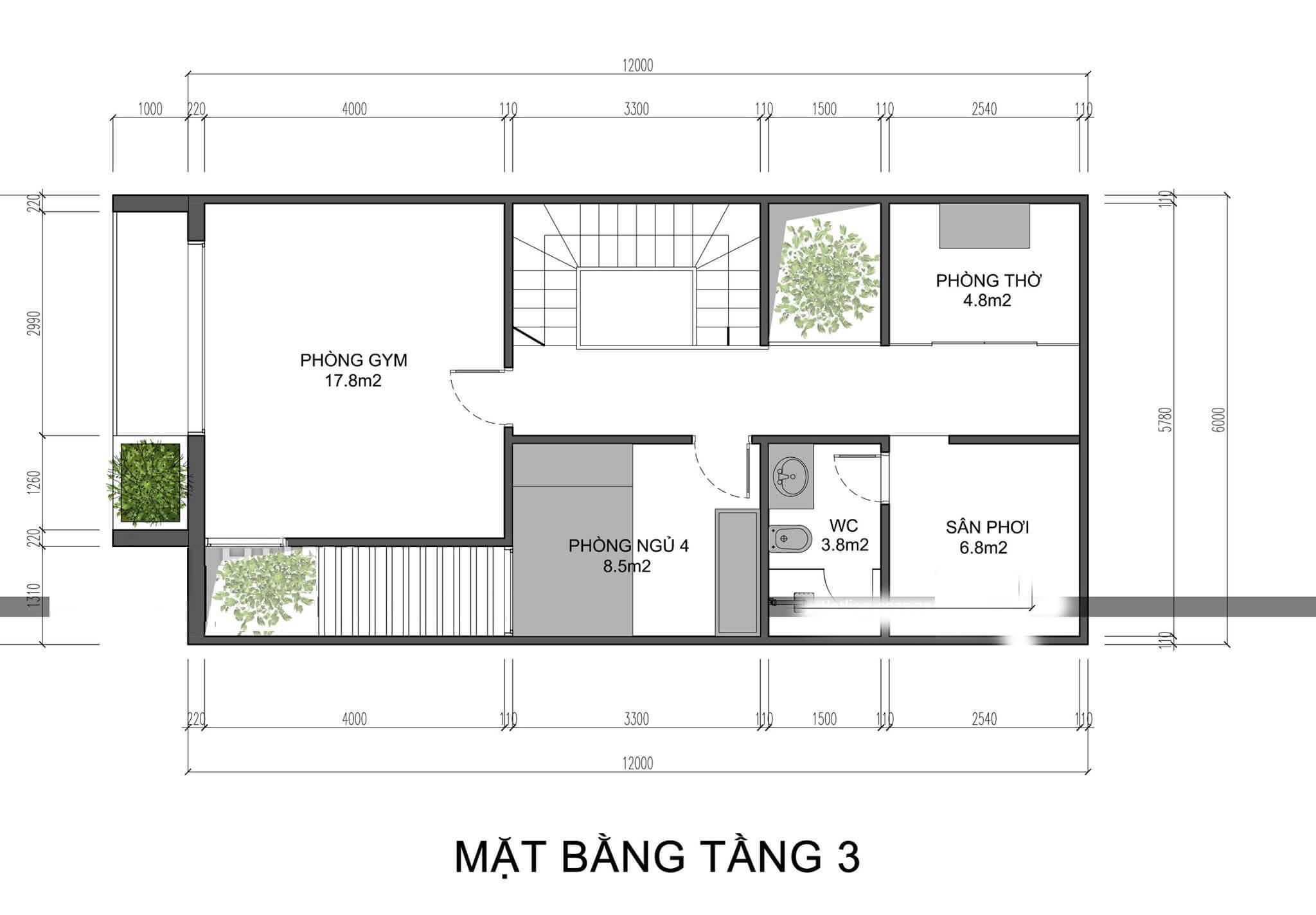 Mẫu nhà 3 tầng 4 phòng ngủ hiện đại