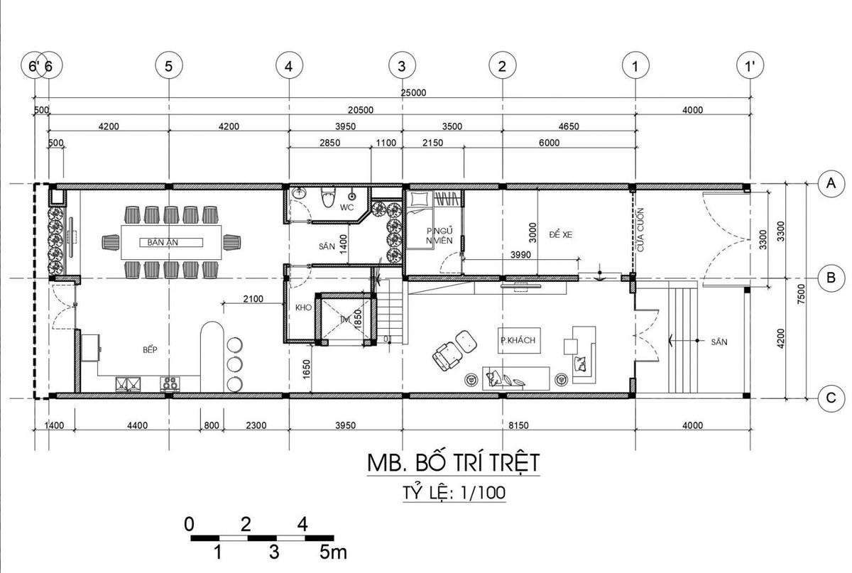 Mẫu nhà phố 3 tầng 4 phòng ngủ mặt tiền 7m