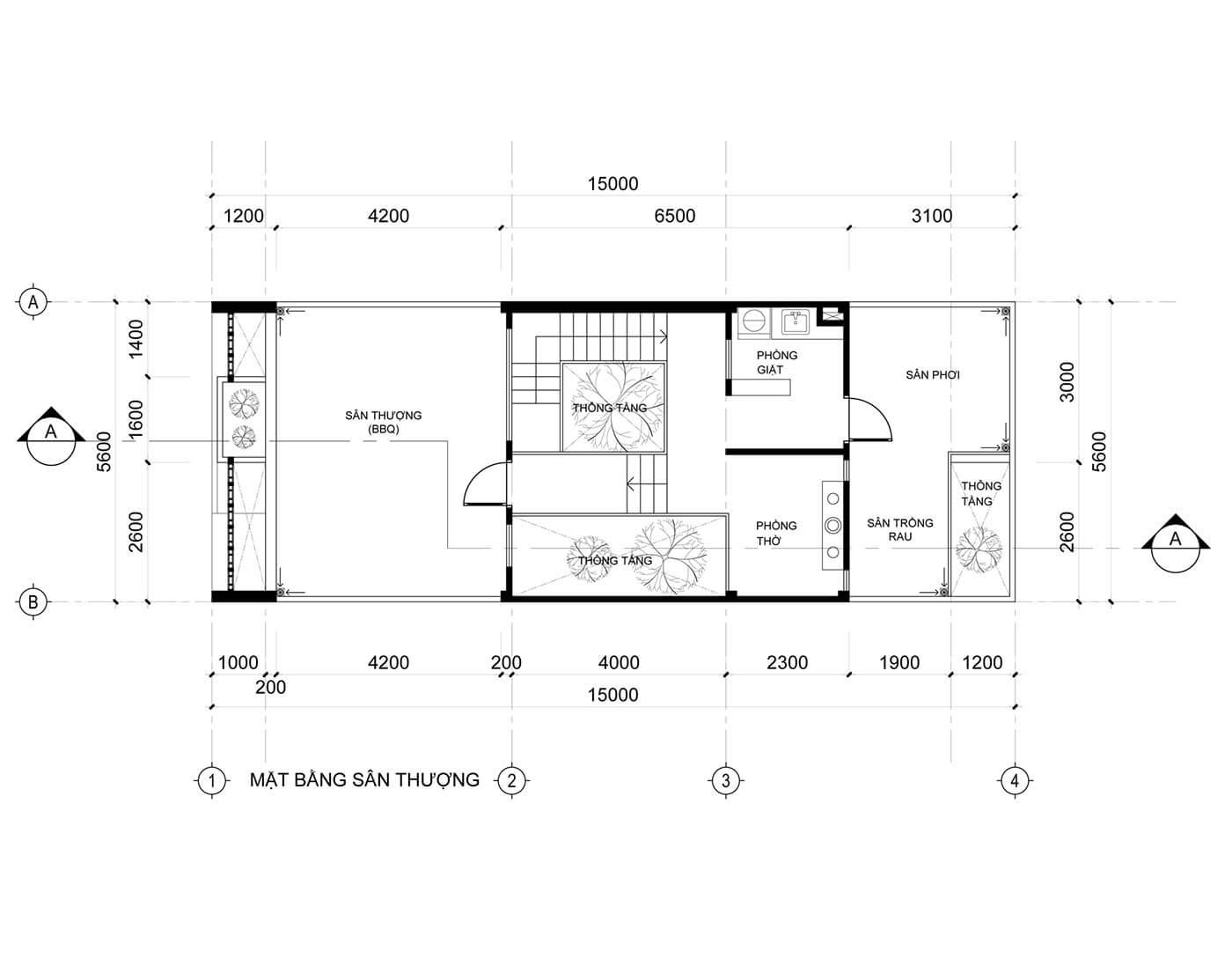 Mẫu nhà phố 3 tầng 5x20m