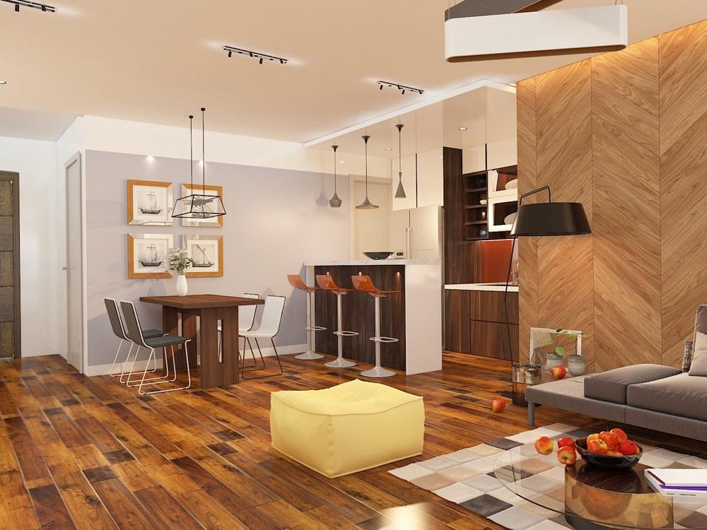 mẫu thiết kế căn hộ 3 phòng ngủ 75m2