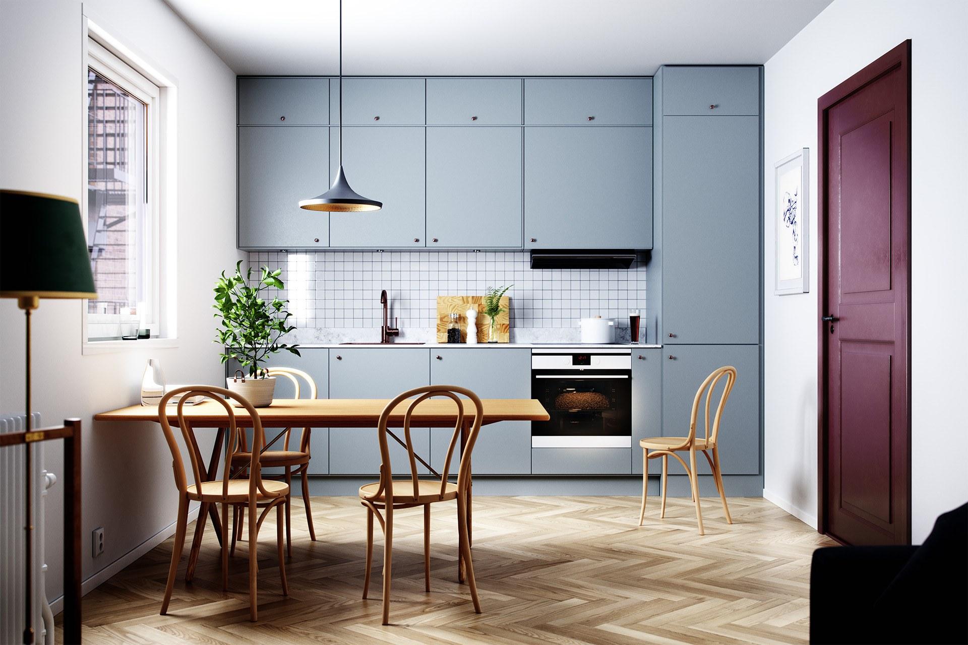 Nội thất bếp màu xanh