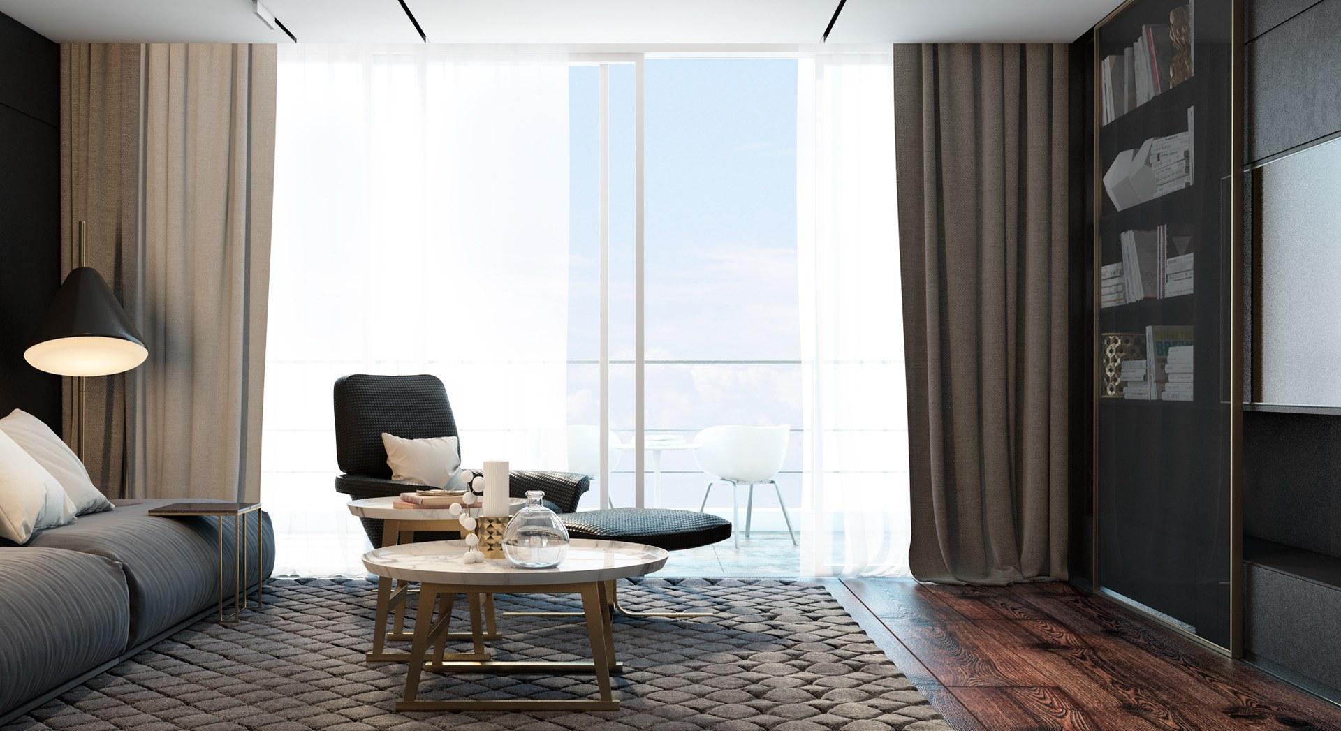 Phòng khách màu xám