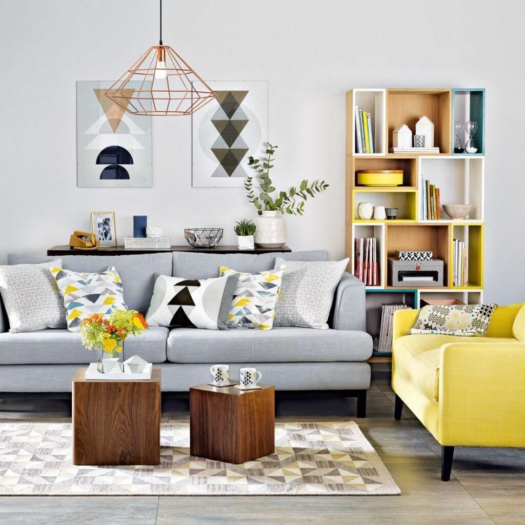 Sơn phòng khách kết hợp các thiết kế hình học