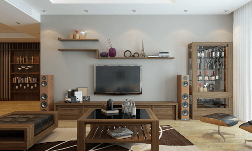 Trang trí phòng khách bằng gỗ