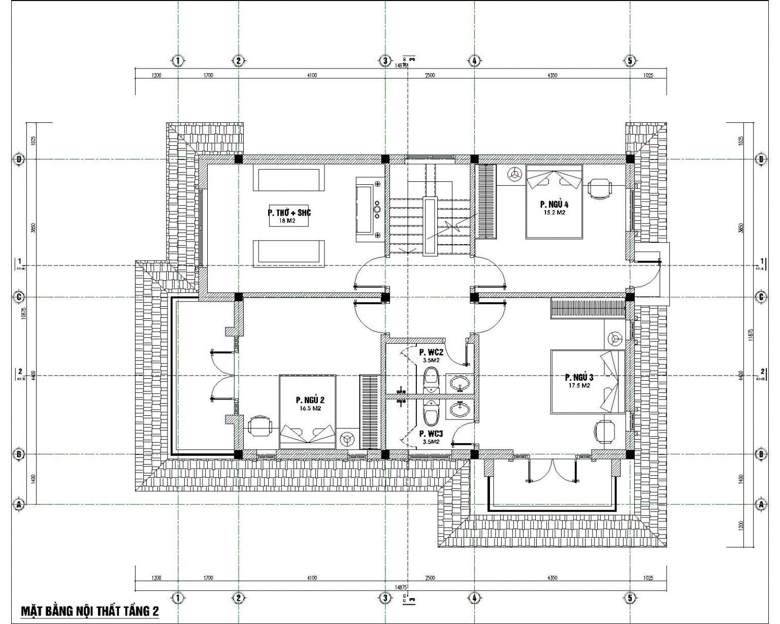Mẫu bản vẽ nhà 2 tầng nông thôn