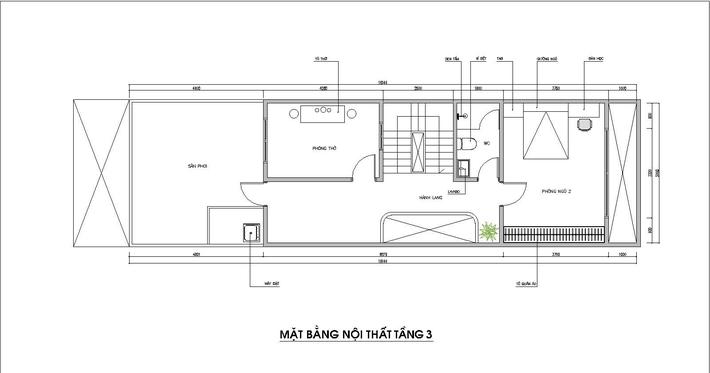 Mẫu nhà ống hiện đại 3 tầng