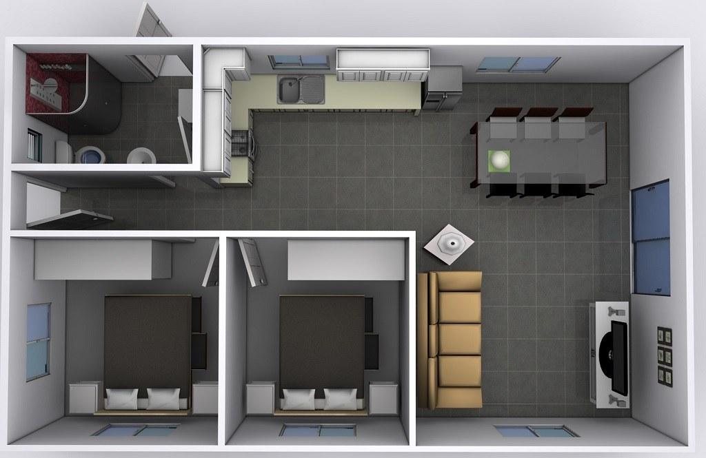 Nhà ống 1 tầng 2 phòng ngủ