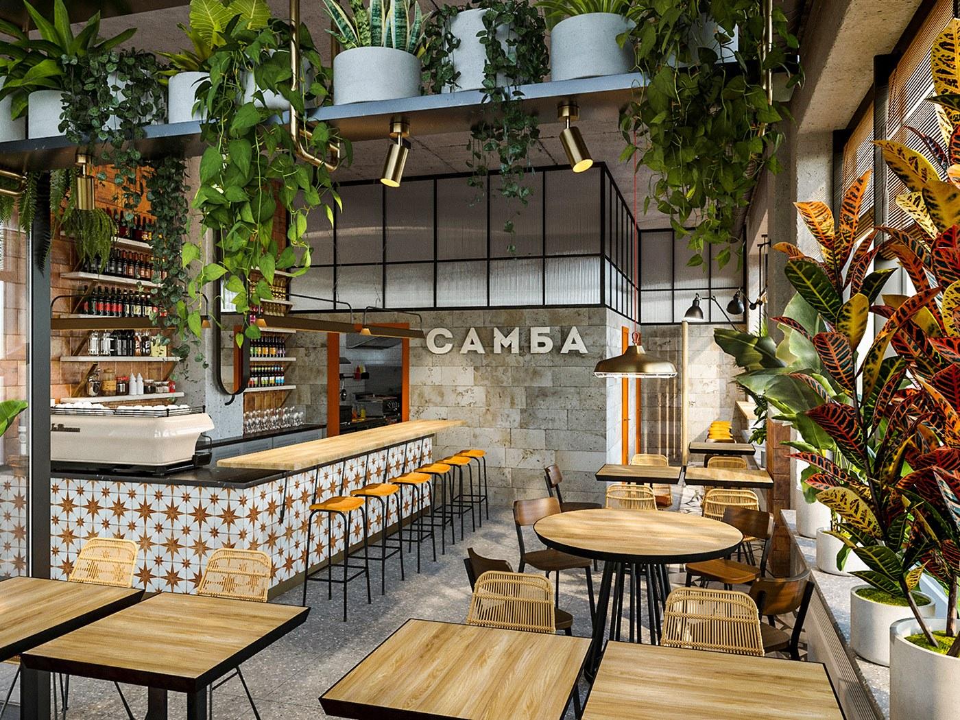 Mẫu thiết kế nội thất quán cà phê xanh