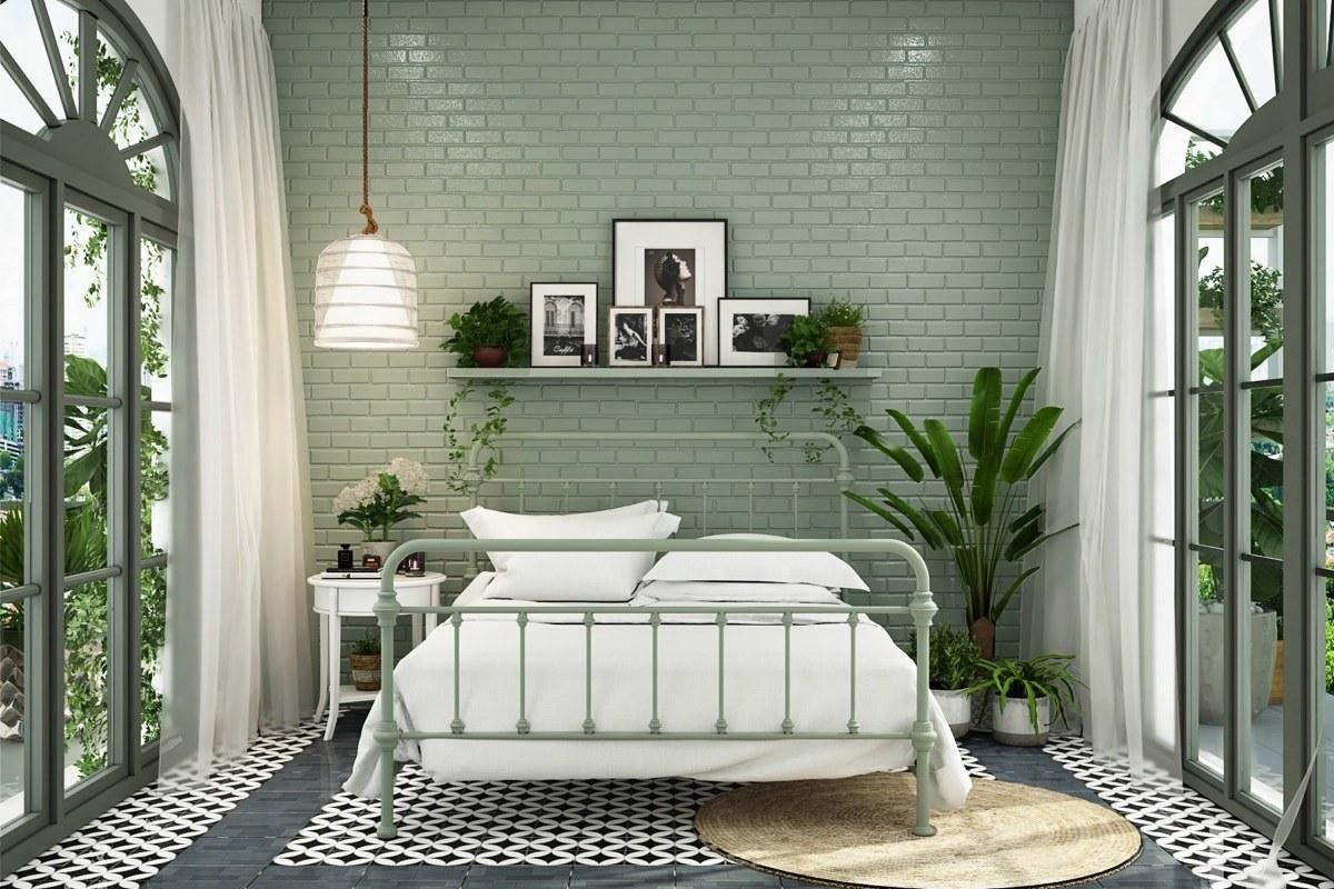 Phòng ngủ màu xanh