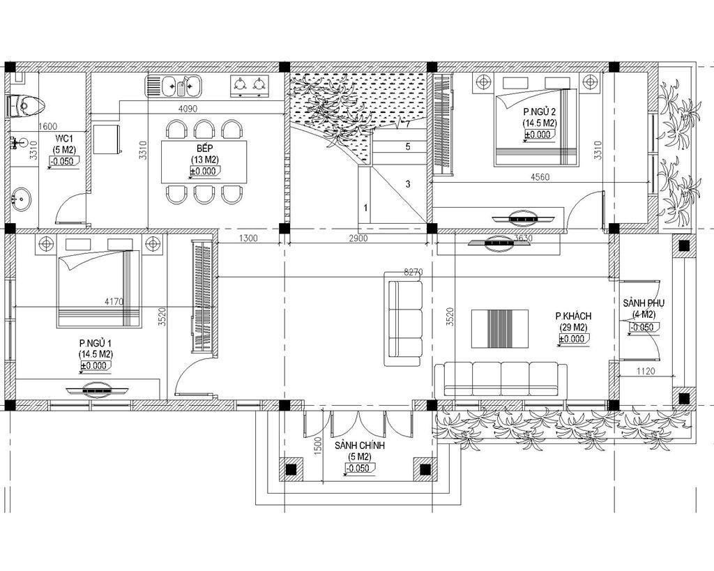 Mẫu biệt thự 2 tầng 2 mặt tiền