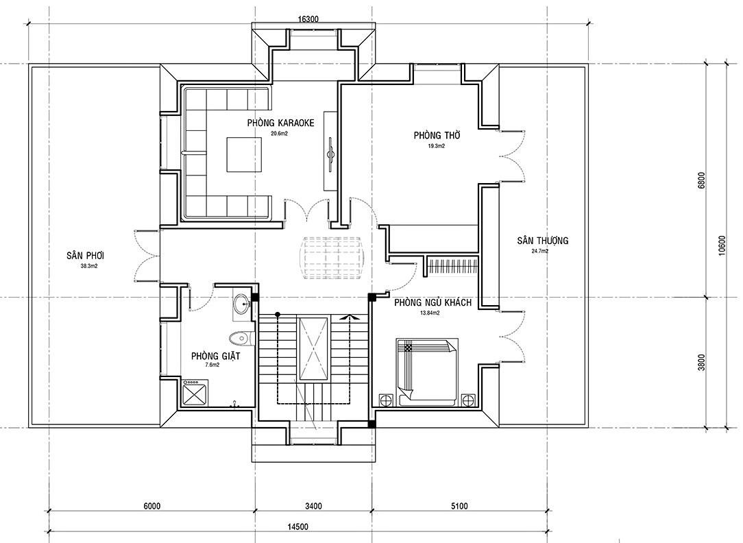 Mẫu biệt thự 3 tầng 5 phòng ngủ đẹp