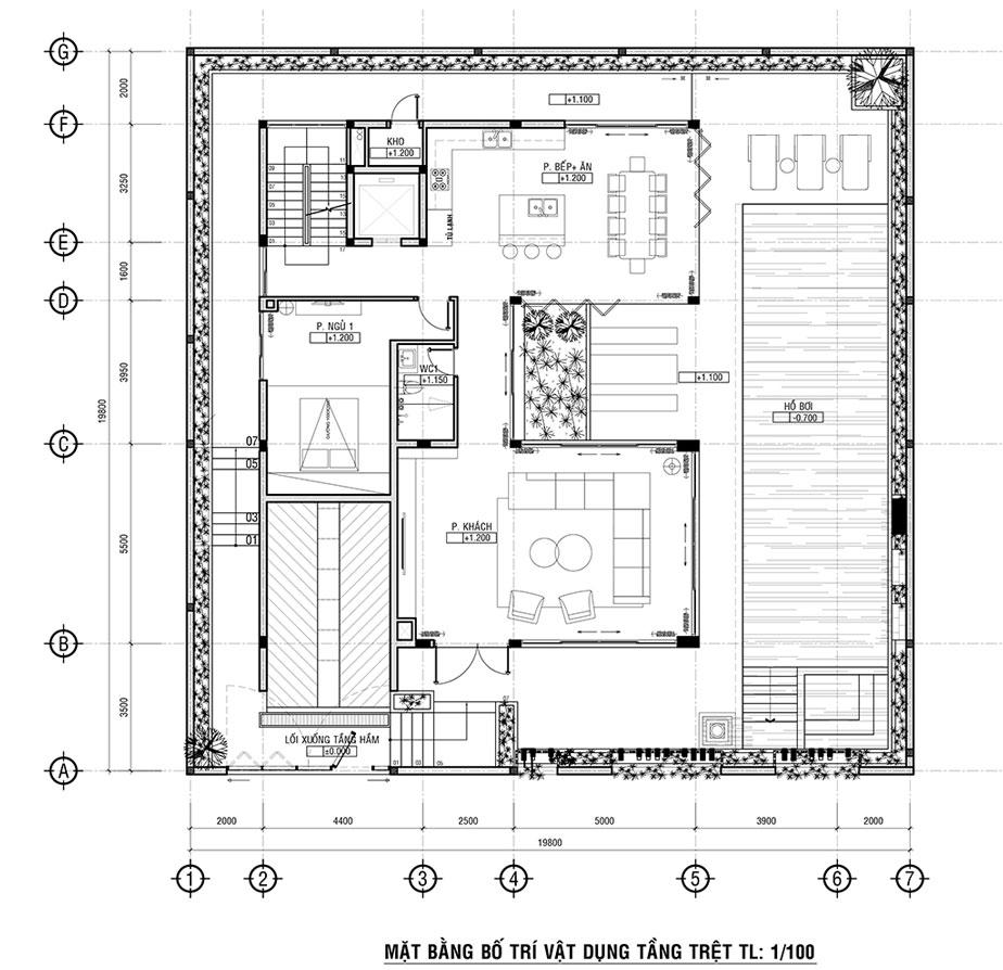 Mẫu biệt thự vườn 3 tầng cơ bản có tầng hầm