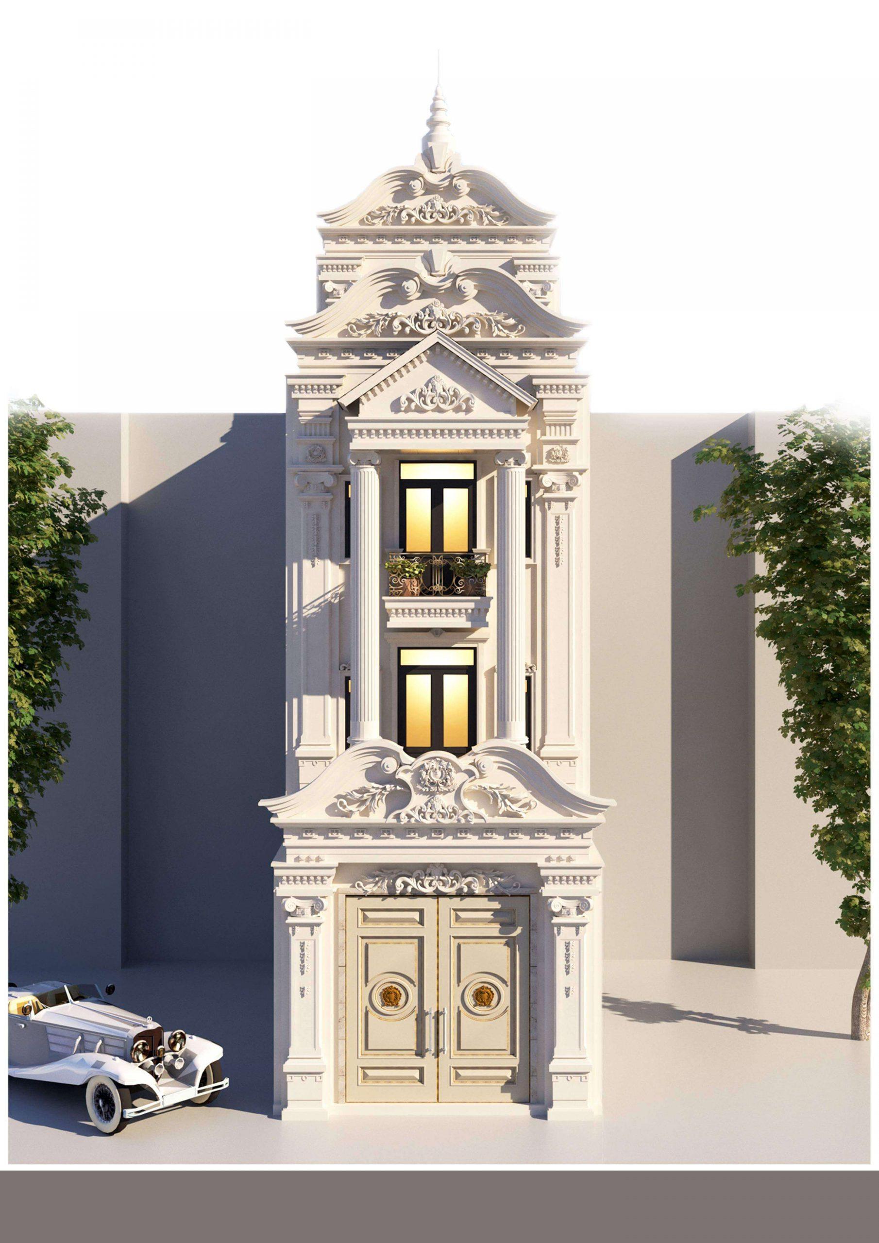 Mẫu nhà phố 3 tầng 1 tum phong cách cổ điển