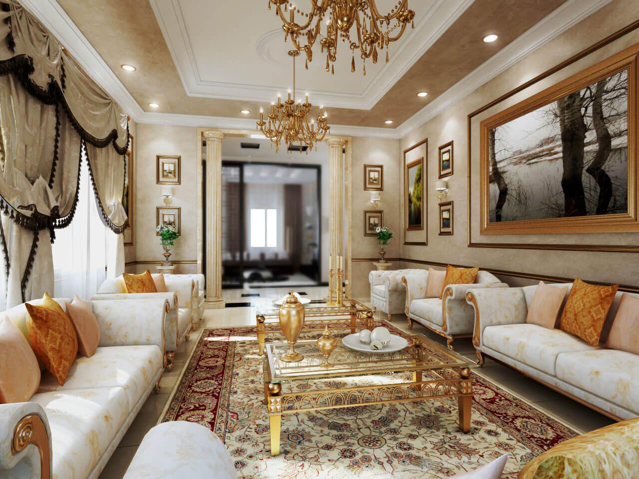 Mẫu phòng khách biệt thự cổ điển