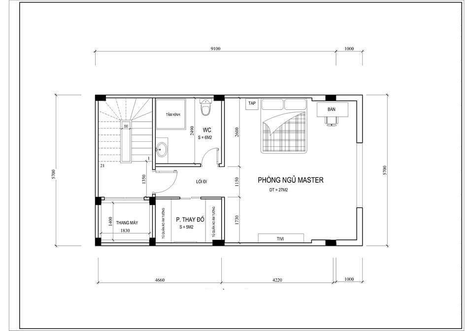 Nội thất nhà phố 3 tầng có gara