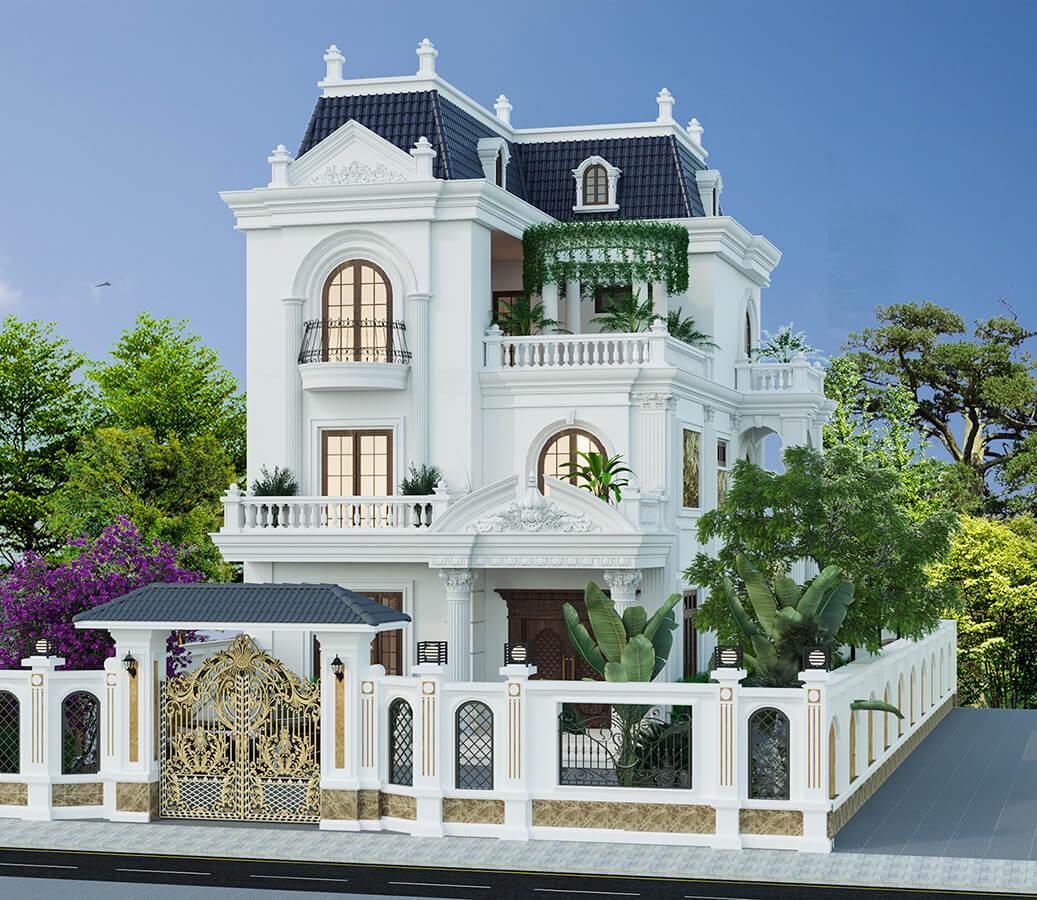 Mẫu biệt thự 3 tầng kiểu Pháp đẹp và sang trọng