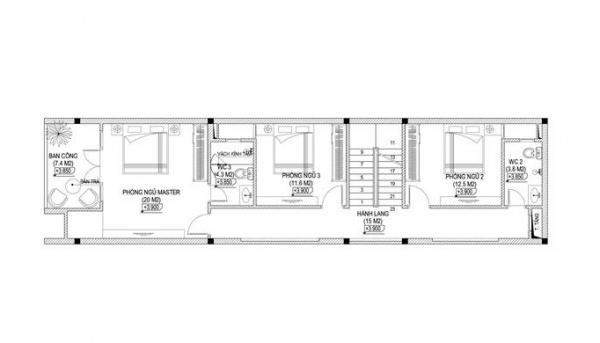 Mẫu nhà 3 tầng 5x15m
