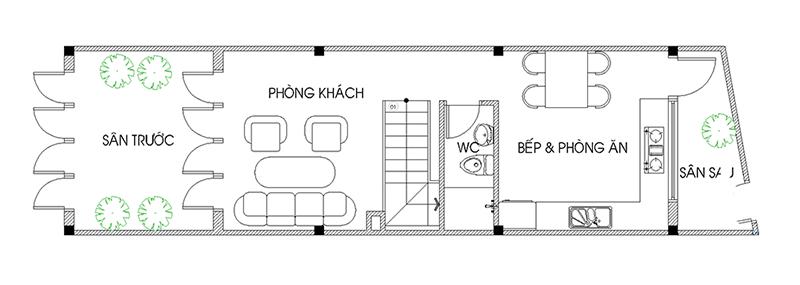 Mẫu nhà ống 3 tầng mặt tiền 3m