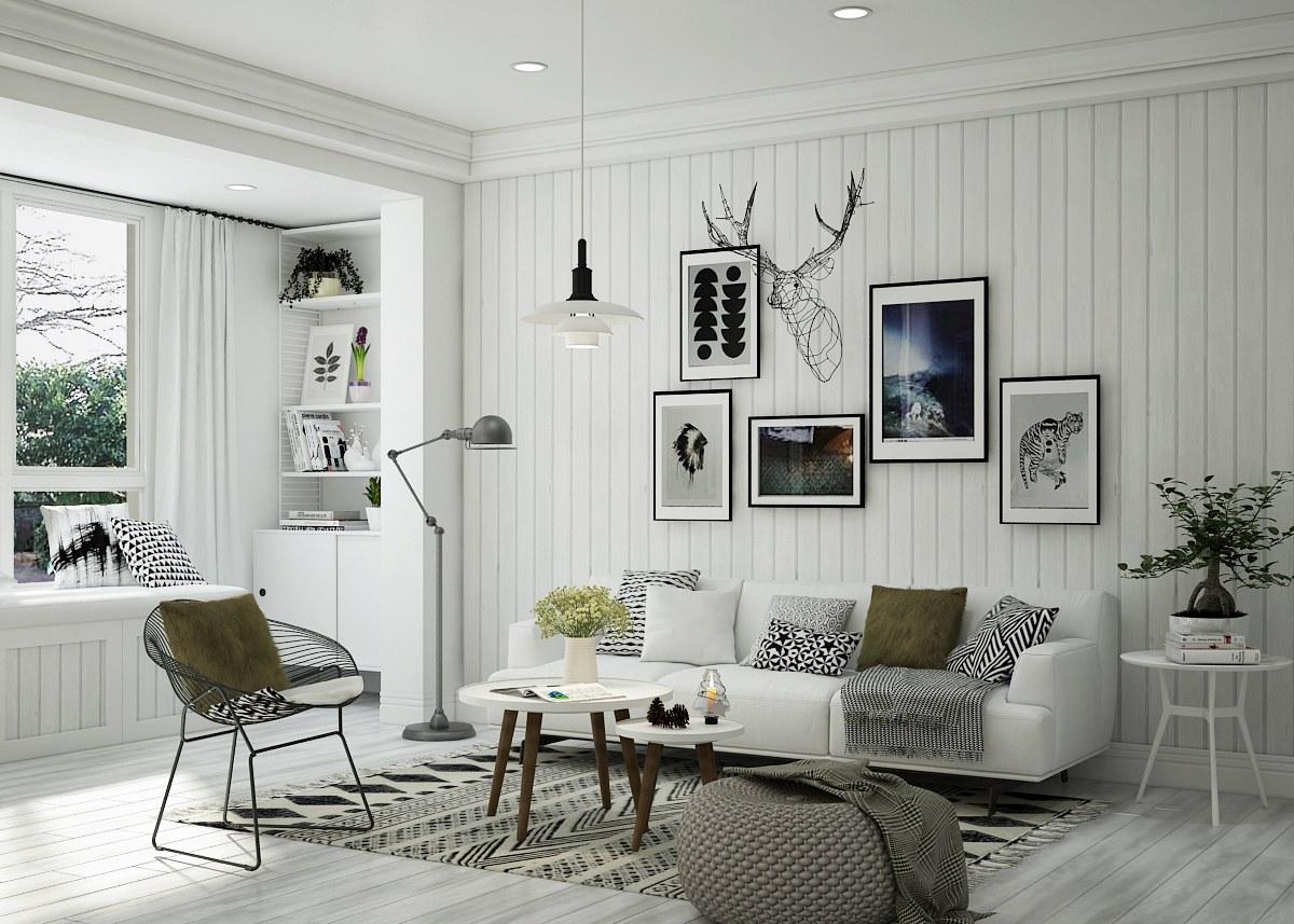 Phòng khách chung cư phong cách bắc âu
