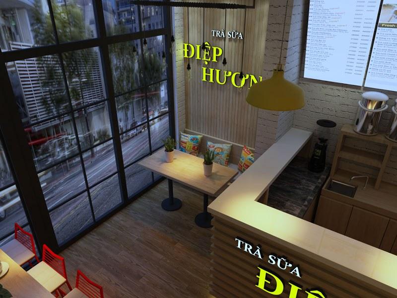 Mẫu thiết kế quán trà sữa hiện đại