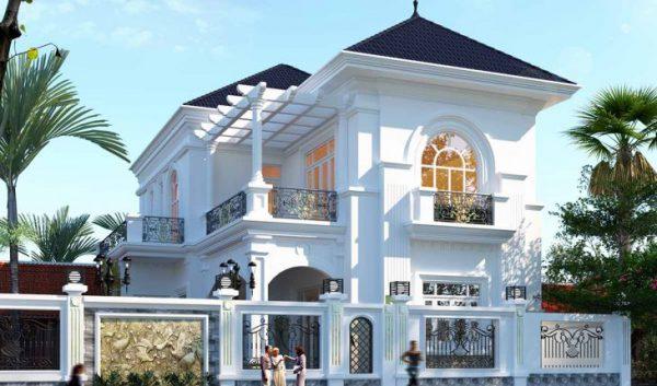 mẫu nhà 2 tầng mái thái mặt tiền 8m đẹp