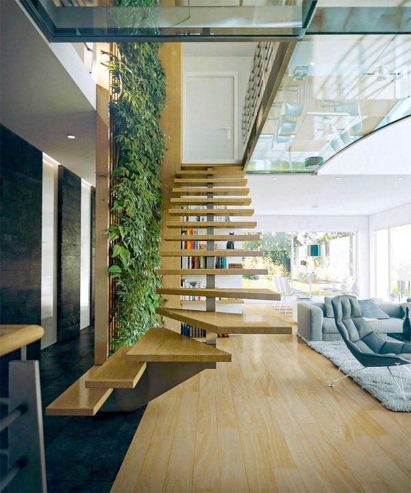 mẫu cầu thang cho không gian nhà phố hiện đại