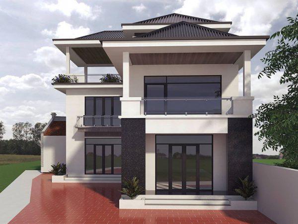 mẫu nhà 2 tầng nông thôn với phong cách thiết kế hiện đại