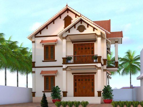 Nhà 2 tầng mái Thái với thiết kế cửa gỗ sang trọng