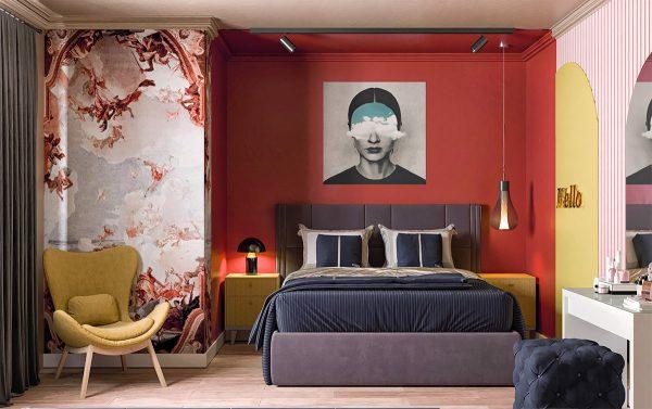 Decor phòng ngủ màu đỏ