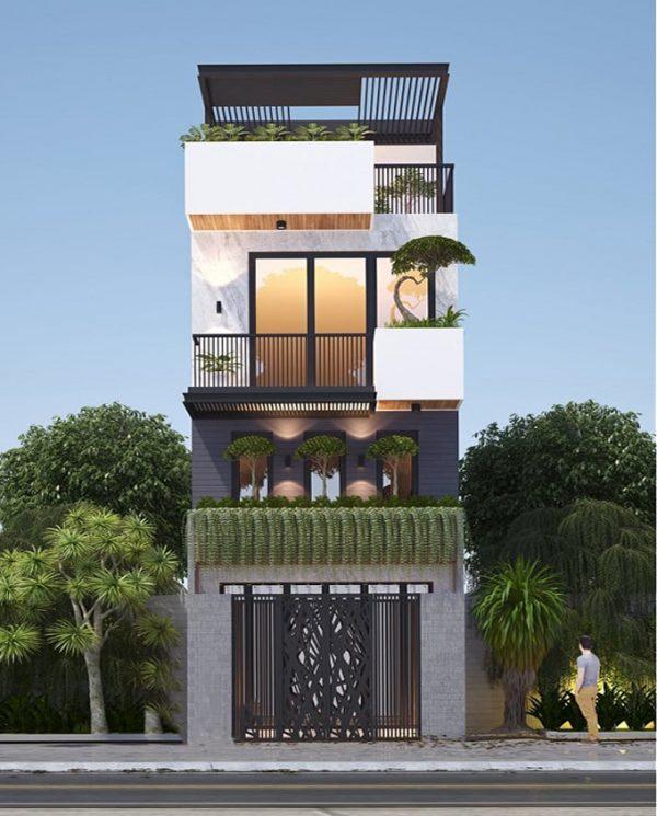 Mẫu nhà ống lệch tầng dành cho những gia đình yêu thích không gian xanh