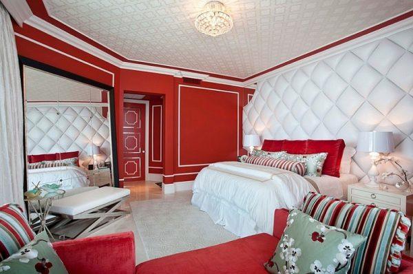 Màu đỏ sang trọng cho phòng ngủ
