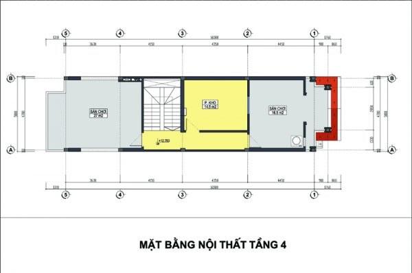 mặt bằng nội thất tầng 4 nhà ống 4 tầng kết hợp kinh doanh