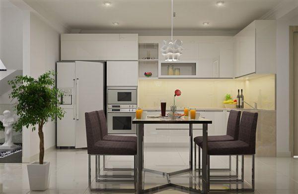 thiết kế tầng trệt nhà phố tận dụng làm không gian bếp ăn