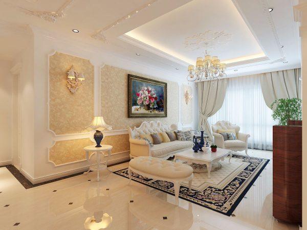 thiết kế phòng khách nhà mái thái tân cổ điển