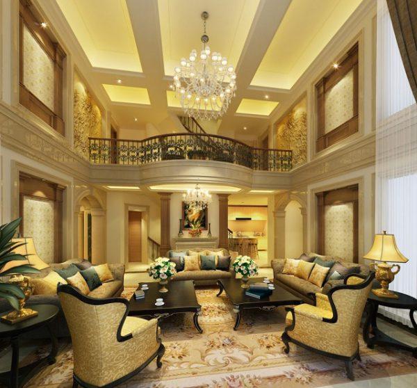thông tầng phòng khách cổ điển