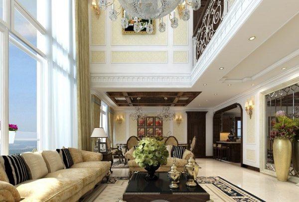 Thông tầng phòng khách phong cách tân cổ điển